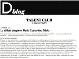 2016, D.blog La Repubblica - Lo stilista artigiano: Mario Costantino Triolo
