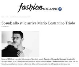 2017, Fashion Magazine - Sosud: allo stile arriva Mario Costantino Triolo