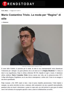 2017, TrendsToday - Mario Costantino Triolo. La moda per Regine di stile