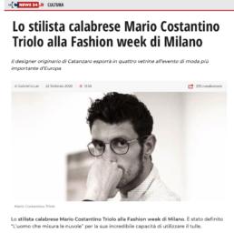 2020, LaC news24 - Lo stilista calabrese Mario Costantino Triolo alla Fashion week di Milano