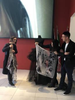 Mario Costantino Triolo con Giulia Fucile e Laura Pellegrino _ Fashion Week 2020