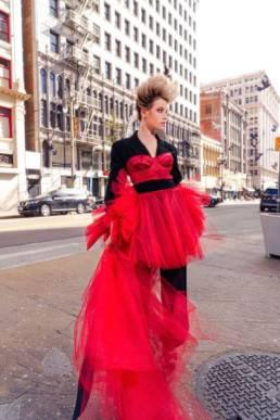 Dominique Druckman Actress wore Mario Costantino Triolo Alta Moda_ for MUZE Magazine