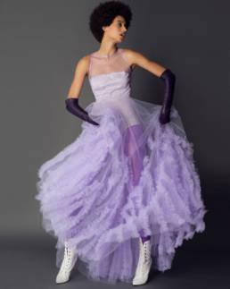 Alta Moda in Los Angeles_ special dress in spring color by Mario Costantino Triolo